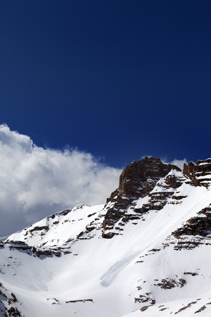 off piste: Snowy rocks with traces from avalanche. Turkey, Central Taurus Mountains, Aladaglar (Anti Taurus), plateau Edigel (Yedi Goller)