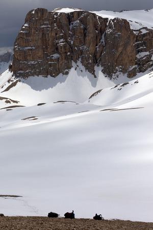 off piste: Snowy plateau and three backpack. Turkey, Central Taurus Mountains, Aladaglar (Anti Taurus), plateau Edigel (Yedi Goller)