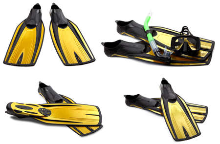 Set of yellow swim fins, mask and snorkel for diving. Isolated on white background.