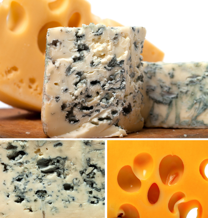 Collage of dorblu and other cheeses  photo