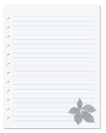 college ruled: Notebook paper with virginia creeper leaf at background