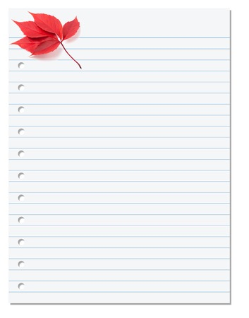 Notebook paper with red autumn virginia creeper leaf in corner. Back to school background photo
