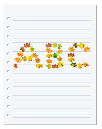 Notebook paper with letters A B C composed of autumn maple leafs. Back to school background photo