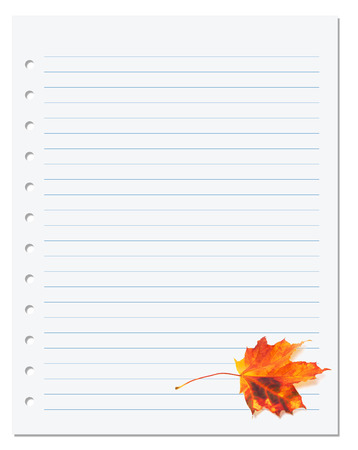 college ruled: Notebook paper with autumn orange maple leaf on white. Back to school background Stock Photo