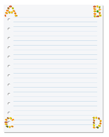 ruled paper: Notebook paper with letters A B C D in corner composed of autumn maple leafs. Back to school background