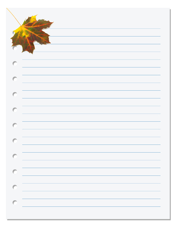 ruled paper: Notebook paper with autumn maple leaf in corner. Back to school background