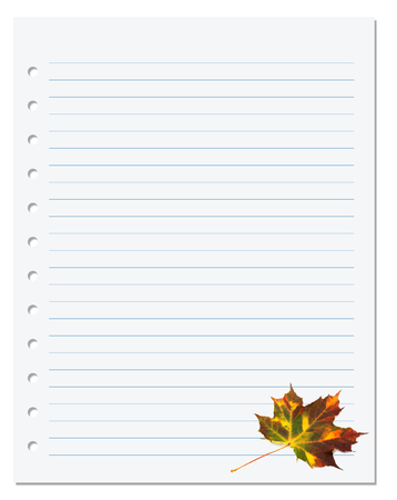ruled paper: Notebook paper with autumn maple leaf on white. Back to school background