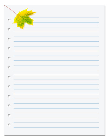 ruled paper: Notebook paper with yellow autumn maple leaf on white. Back to school background