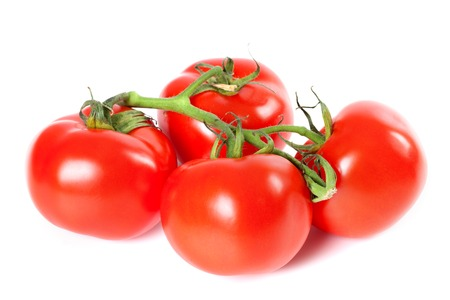 Bunch of ripe tomato isolated on white background photo