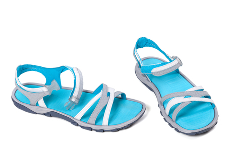 Pair of summer sandals. Isolated on white background. photo