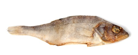 perch dried: Sundried roach isolated on white background. Close-up view.