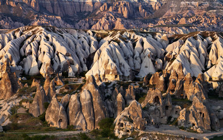 goreme: View of Cappadocia valley at spring sunset. Turkey, Goreme. Stock Photo