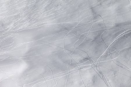 offpiste: Off-piste slope with traces of skis and snowboarding. Caucasus Mountains, Georgia.Ski resort Gudauri.