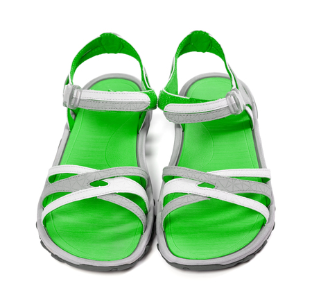Pair of summer sandals. Isolated on white background. Front view. photo