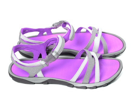 Pair of summer sandals. Isolated on white background. Side view. photo