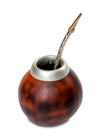 mate infusion: Calabash gourd with bombilla. Isolated on white background.