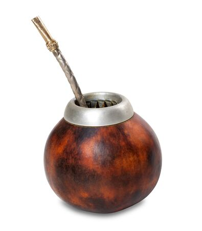 mate infusion: Calabash with bombilla isolated on white background