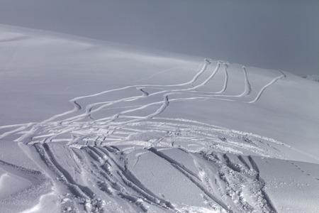 offpiste: Off-piste slope in fog. Caucasus Mountains, Georgia, ski resort Gudauri.