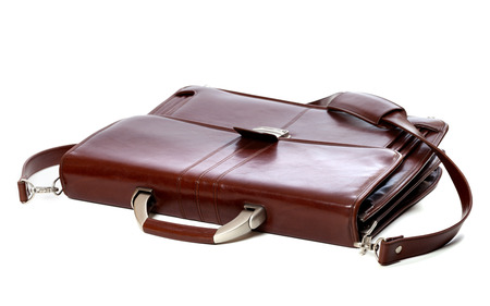 portmanteau: Brown leather briefcase. Isolated on white background. Stock Photo