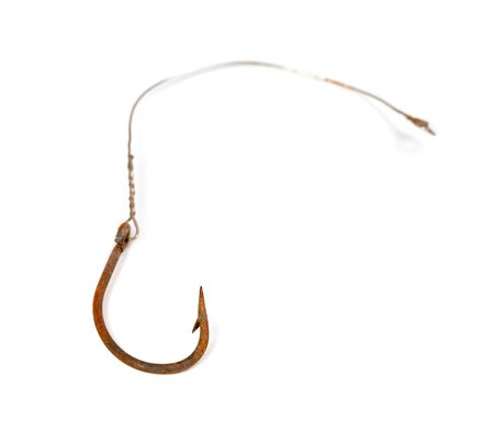 fishhook: Old rusty fishhook isolated on white background. Selective focus. Stock Photo