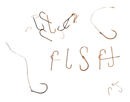 fishing rig: Word F I S H and old rusty fish hooks. Isolated on white background Stock Photo