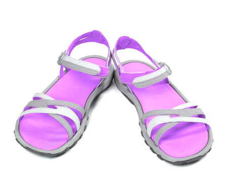 Pair of summer sandals. Isolated on white background photo