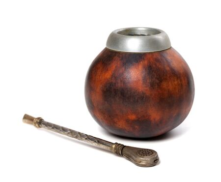 mate infusion: Calabash gourd and bombilla. Isolated on white background