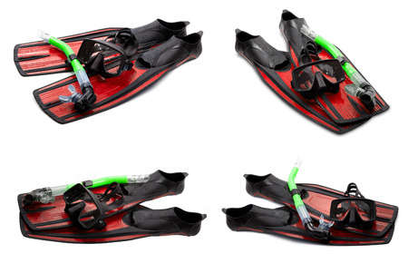 swim mask: Set of red swim fins, mask and snorkel for diving isolated on white background Stock Photo