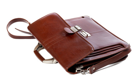 portmanteau: Leather brown briefcase. Isolated on white background. Stock Photo