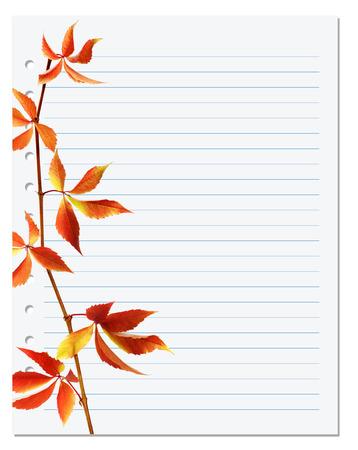 college ruled: Exercise book with autumnal virginia creeper twig (Parthenocissus quinquefolia foliage). Back to school background