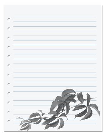 college ruled: Exercise book with black-white virginia creeper leaf (Parthenocissus quinquefolia foliage). Back to school background