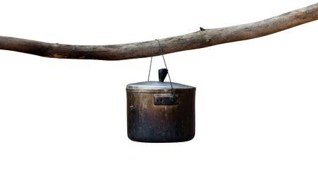 sooty: Sooty cauldron isolated on white background