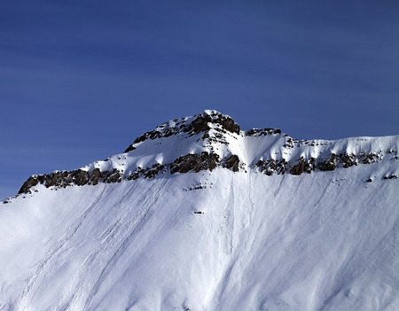 ski traces: Slope with traces of avalanches. Caucasus Mountains, Georgia, ski resort Gudauri.