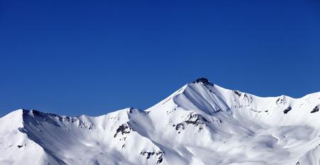 offpiste: Panoramic view on off-piste snowy slope. Caucasus Mountains, Georgia, ski resort Gudauri.
