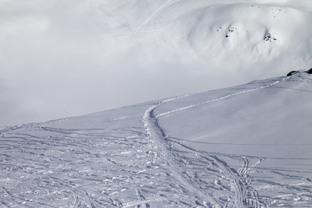 offpiste: Off-piste slope with new-fallen snow. Caucasus Mountains, Georgia, ski resort Gudauri. Stock Photo