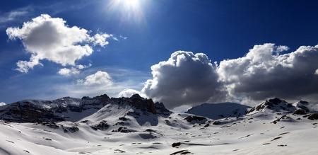 Panoramic view on plateau covered snow. Turkey, Central Taurus Mountains, Aladaglar (Anti-Taurus), plateau Edigel (Yedi Goller).