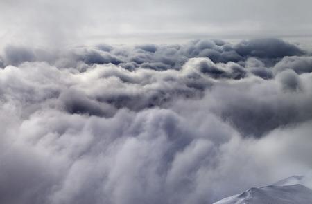 offpiste: Top of off-piste slope before storm. Georgia, ski resort Gudauri. Caucasus Mountains.