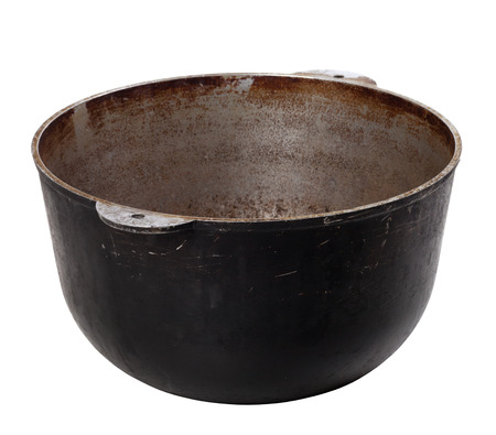 smut: Black old dirty pot isolated on white background