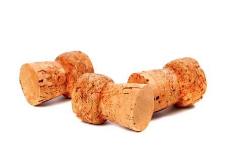 corked: Three corks from champagne wine isolated on white background with copy space