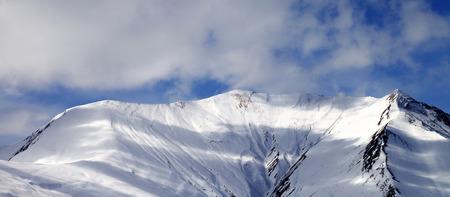 offpiste: Panoramic view on off-piste snowy slope. Caucasus Mountains, Georgia, region Gudauri. Stock Photo