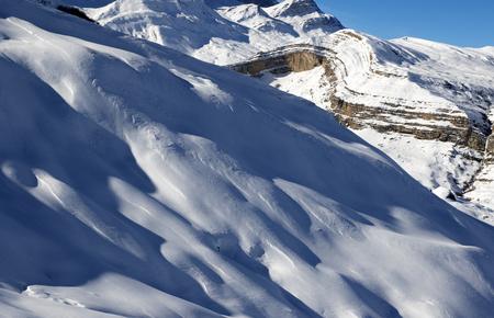 offpiste: Off-piste slope at sun evening. Greater Caucasus, Mount Shahdagh. Qusar rayon of Azerbaijan.