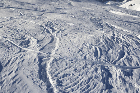 ski traces: Off-piste slope after snowfall at sun morning. Greater Caucasus, Shahdagh, Azerbaijan.