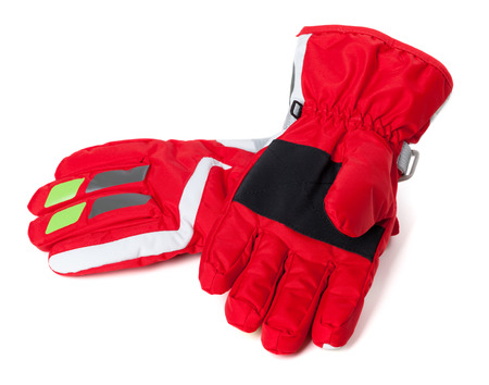 criss: Red winter ski gloves. Isolated on white background