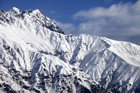 svaneti: Snowy sunlight mountains at nice day. View from chair lift on Hatsvali, Svaneti region of Georgia. Caucasus Mountains.