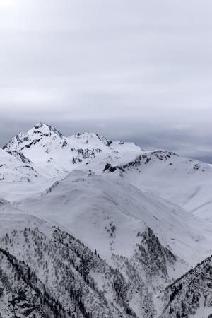 svaneti: Gray snowy mountains. Caucasus Mountains. Svaneti region of Georgia.