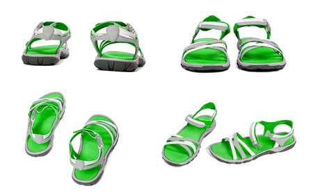 sandals isolated: Set of green summer sandals. Isolated on white background.