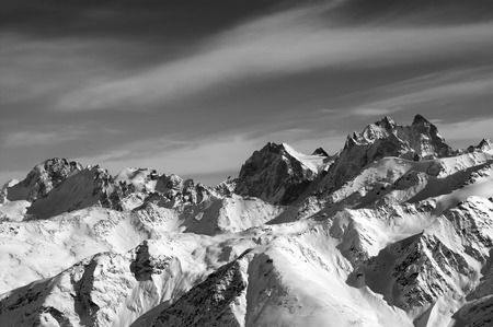 mounts: Black and white Caucasus Mountains in winter. View from Elbrus. Mounts Chatyn, Ushba