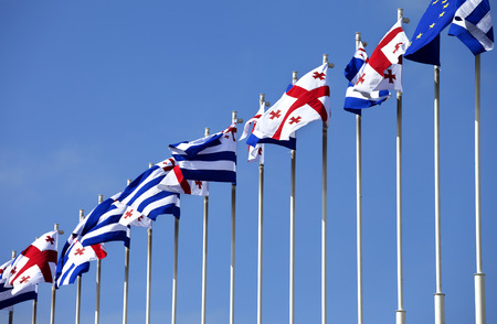 brandish: Flags of Georgia, Adjara (autonomous republic of Georgia) and European Union