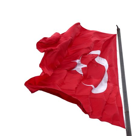 brandish: Flag of Turkey waving in wind. Isolated on white background.