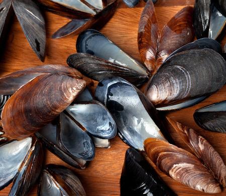 saltwater pearl: Empty shells of mussels on wooden kitchen board